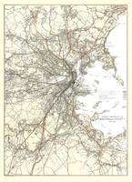 Vintage Boston Transit Line Map (1914)