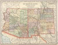 Vintage Map of Arizona and New Mexico (1891)