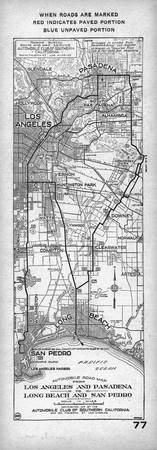 Vintage Los Angeles and San Pedro Road Map (1919)