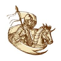 Knight On Horse Holding Flag Drawing
