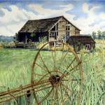 """Barn & Wagon Wheel"" by ClotheslineArt"