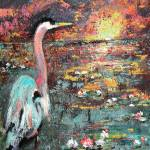 """Sunset In The Wetlands Blue Heron"" by GinetteCallaway"
