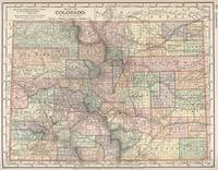 Colorado Map with Cities and Counties (1891)