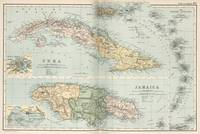 Vintage Map of Cuba and Jamaica (1892)