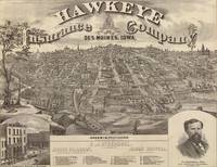 Vintage Pictorial Map of Des Moines Iowa (1875)