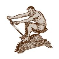 Athlete Exercising Vintage Rowing Machine Etching