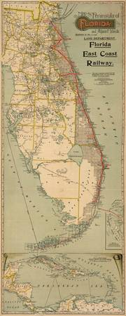 Vintage Florida Railway Map (1896)