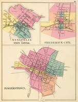 Vintage Map of Annapolis, Frederick and Hagerstown
