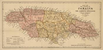 Vintage Map of Jamaica (1893)