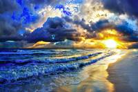 Ocean Sunset Landscape Beautiful Beach Sunrise