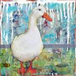 """Duck Darling, mixed media collage art"" by schulmanart"