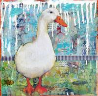 Duck Darling, mixed media collage art