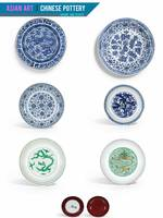 Asian Art, Chinese Pottery - Basins and Plates by
