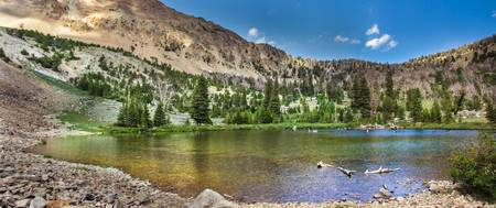 Panoramic View of An Alpine Lake