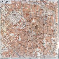 Vintage Map of Milan Italy (1913)