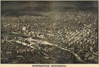 Vintage Pictorial Map of Minneapolis MN (1885)