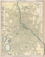 Vintage Map of Minneapolis MN (1891)