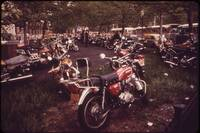 Parked Motorcycles Vintage Photograph