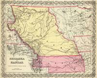 Vintage Map of Nebraska and Kansas (1856)