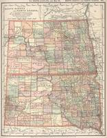 Vintage Map of North and South Dakota (1891)