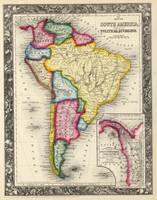 Vintage Map of South America (1860)