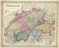 Vintage Map of Switzerland (1856)
