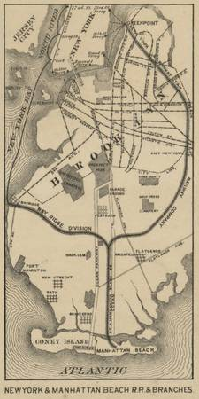 Vintage NYC and Brooklyn Beach R.R. Map (1879)