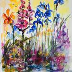 """Flowers by the pond Foxglove and Blue Irises"" by GinetteCallaway"