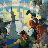 Immigrants and The Statue of Liberty Artwork