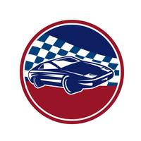 Sports Car Racing Chequered Flag Circle Retro
