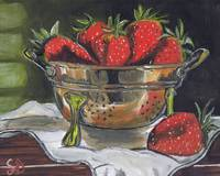 Copper Strainer with red Strawberries, still life