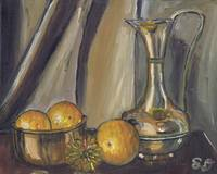 oranges in bowl with vase, still life, Food and ob