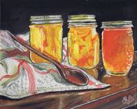 Orange marmalade in glass jars with a wooden spoon