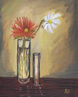 Two Flowers in Glass Vases, floral, still life art
