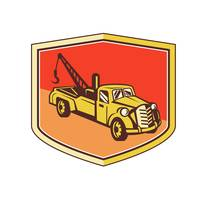 Vintage Tow Truck Wrecker Shield Retro