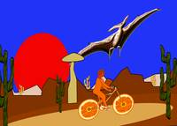 An Orange Bicycle and A Pterodactyl