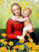 Raphael_-_The_Small_Cowper_Madonna_with flowers