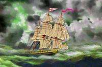HMS Boreas, captain Horatio Nelson, in Stormy Weat