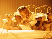 Little Girl Loves To Read With My Teddy Bears