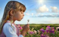 Little Girl Makes A Dandelion Wish
