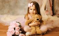 Little Girl Clutches Her Teddy Bear,My Teddy Bear!