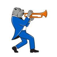 Bulldog Blowing Trumpet Side View Cartoon