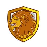 Angry Lion Head Roar Shield Cartoon