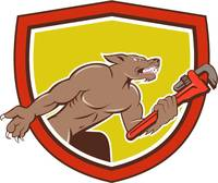 Wolf Plumber Monkey Wrench Shield Cartoon