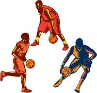 Basketball Player Dribble Woodcut Collection