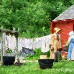 """Neighbors Gossiping on Washday"" by susansartgallery"