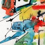 """Abstract Intuitive Ink and Watercolor Blue Man"" by GinetteCallaway"