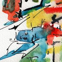 Abstract Intuitive Ink and Watercolor Blue Man