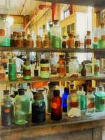 Bottles of Chemicals Green and Brown