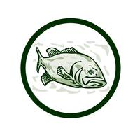 Largemouth Bass Fish Front Side Circle Cartoon